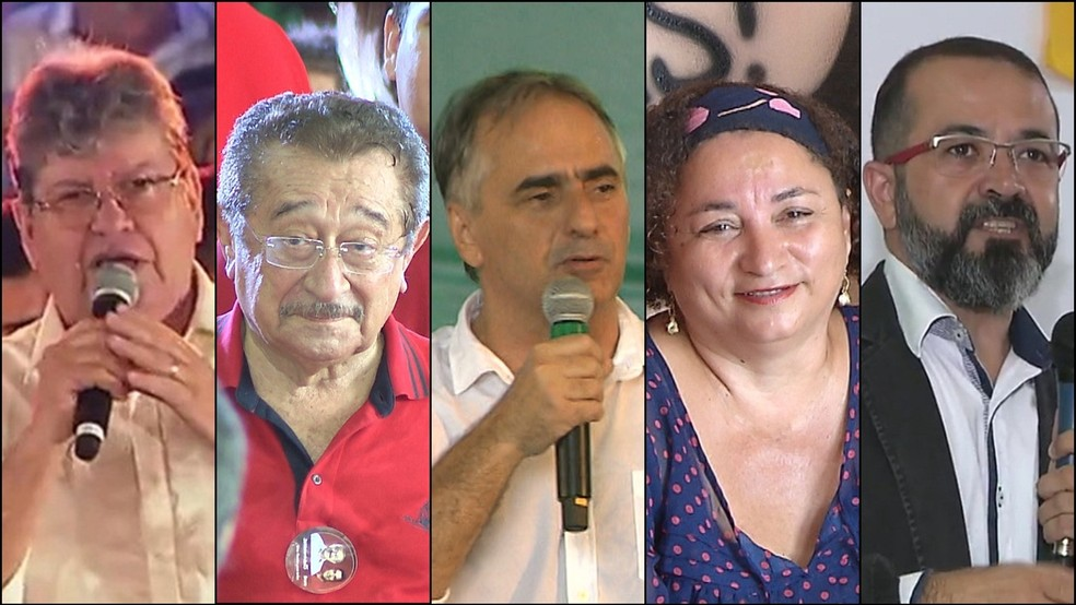 Candidatos ao Governo da PB nas Eleições 2018: João Azevedo (PSB), José Maranhão (MDB), Lucélio Cartaxo (PV), Rama Dantas (PSTU), Tárcio Teixeira (PSOL) (Foto: TV Cabo Branco/Reprodução)