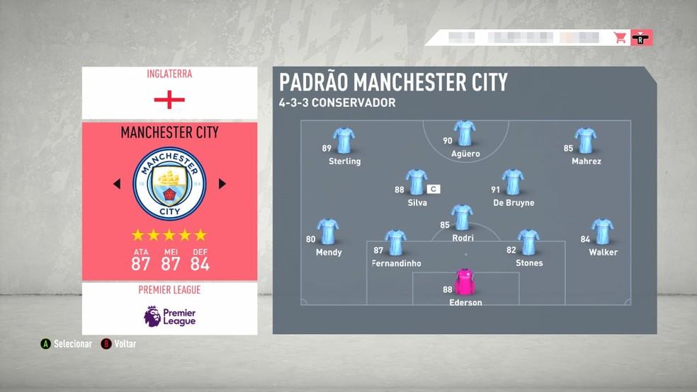 Atual time titular do Manchester City no FIFA 20 — Foto: Reprodução/EA Sports