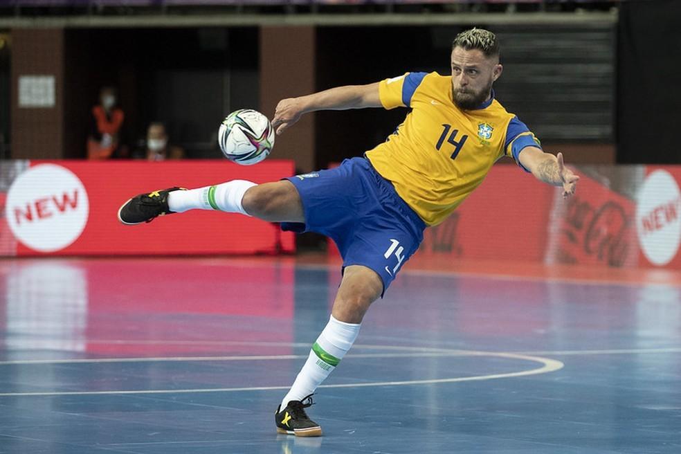 Rodrigo, capitão da seleção brasileira de futsal — Foto: Thais Magalhães/CBF