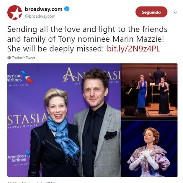 Broadway lamenta morte de Marin Mazzie (Foto: Reprodução/Twitter)