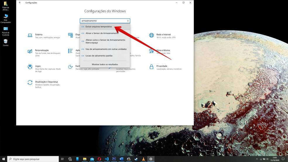 Localize as configurações de armazenamento do Windows 10 — Foto: Reprodução/Filipe Garrett