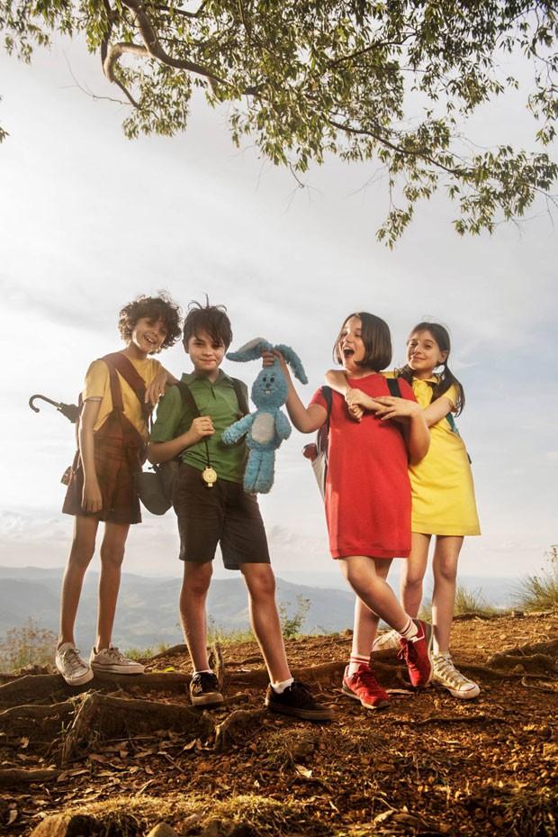 O elenco do filme da Turma da Mônica: Gabriel Moreira como Cascão, Kevin Vechiatto como Cebolinha, Giulia Benite como Mônica,e Laura Rauseo como Magali  (Foto: Divulgação/SerendipityInc)