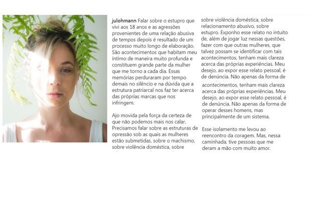 Juliana Lohmann e seu relato do Instagram (Foto: Reprodução)