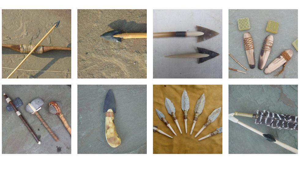 Bill Schindler e seus alunos criam réplicas de ferramentas da idade da pedra (Foto: Bill Schindler)