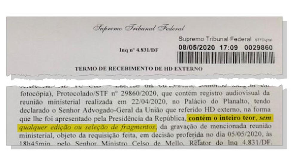 Governo diz que enviou ao STF a íntegra da gravação da reunião citada por Moro em depoimento — Foto: Reprodução