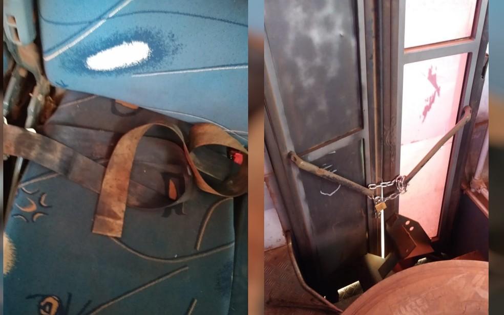 Cintos de segurança estragados e porta amarrada com cadeado, em Rio Verde — Foto: Divulgação/PRF