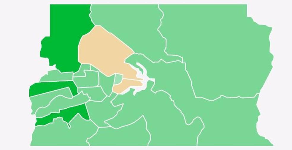 Mapa de votos por zona eleitoral no Distrito Federal – votos para governador — Foto: G1