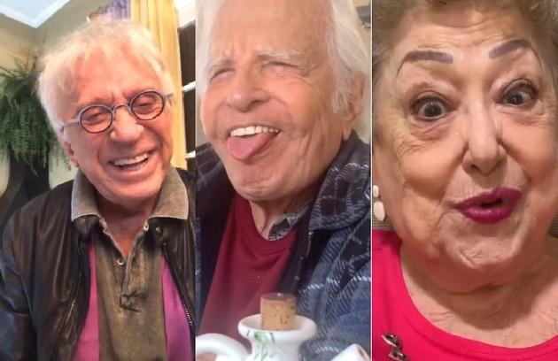 Moacyr Franco, Cid Moreira e Suely Franco usam o bom humor para se comunicar com os fãs no Instagram (Foto: Reprodução/Instagram)