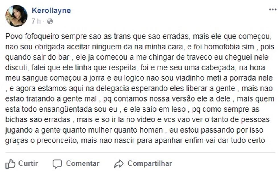Kerollayne publicou um desabafo na internet após a confusão no Centro de Santos, SP (Foto: Reprodução)