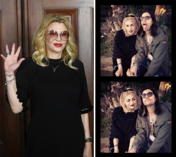 A cantora e atriz Courtney Love e sua filha, Frances Bean Cobain, com o ex-marido (Foto: Getty Images/Reprodução)