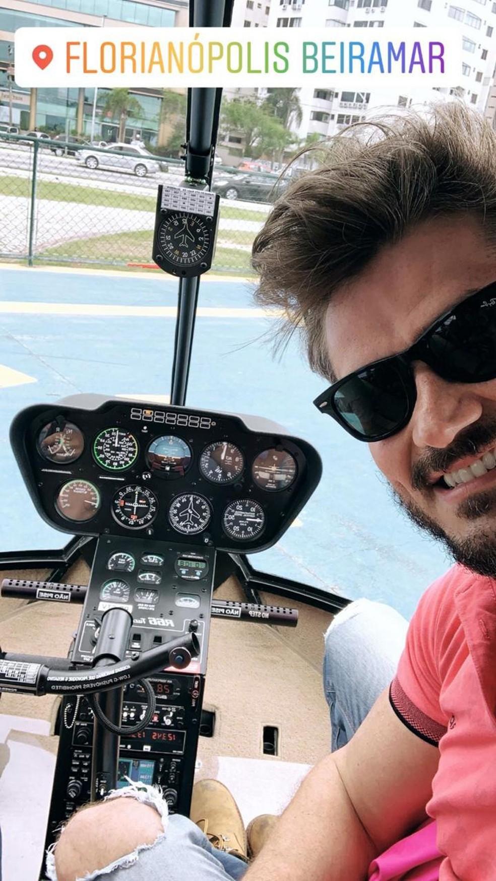 Marcos Harter fez uma publicação nos story anunciando que já está em Florianópolis — Foto: Instagram/Reprodução