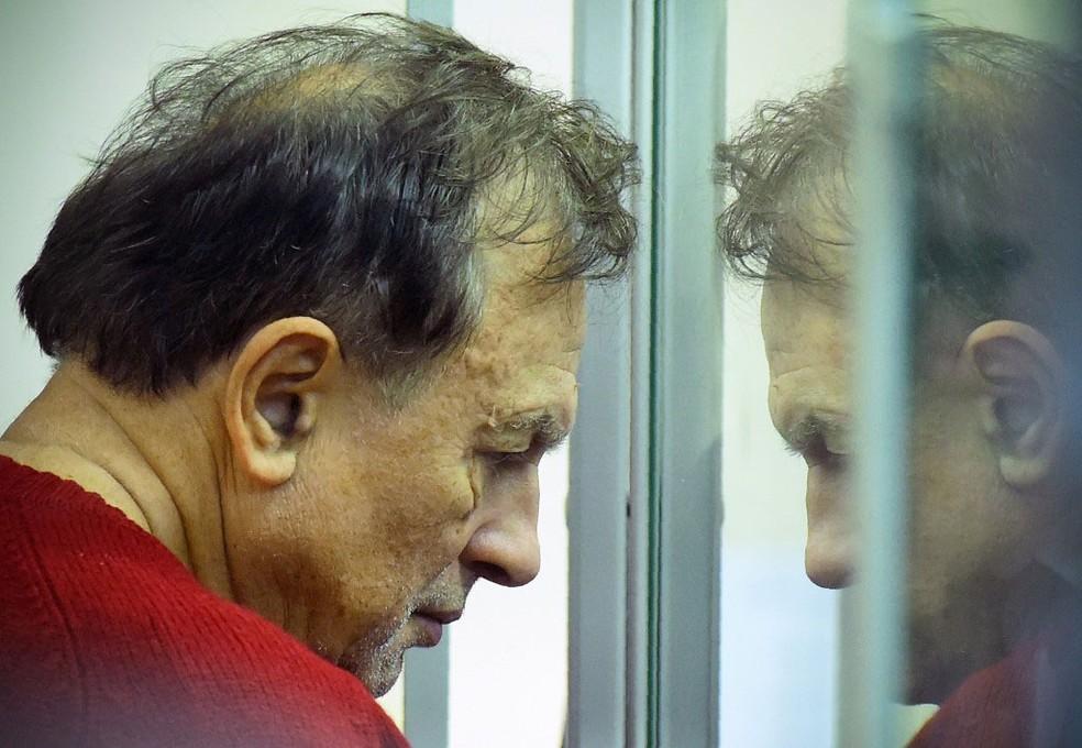 Oleg Sokolov preso, em 11 de novembro de 2019 — Foto: Olga Maltseva / AFP