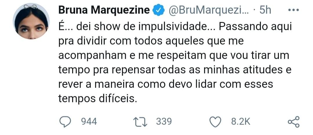 Bruna Marquezine diz que foi impulsiva ao discutir com fãs (Foto: Reprodução)