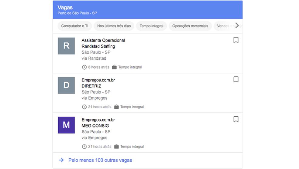 Exemplo de como as vagas são listadas no resultado das buscas (Foto: Divulgação/Google)