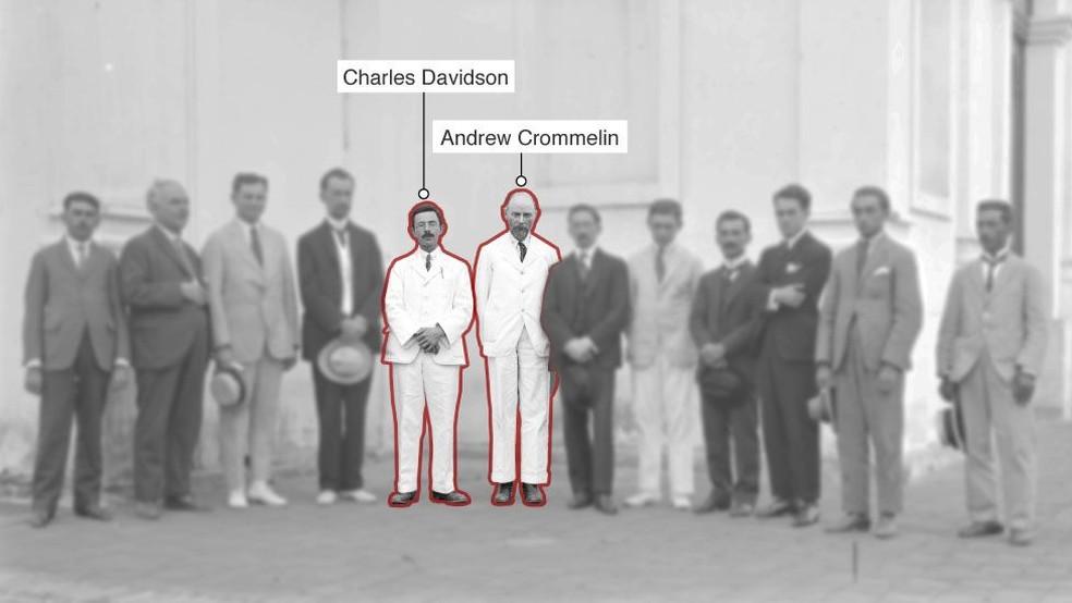 Depois de muitas mudanças de planos, o calculista Charles Davidson e o astrônomo irlandês Andrew Crommelin foram os escolhidos para a expedição do Brasil — Foto: Observatório Nacional