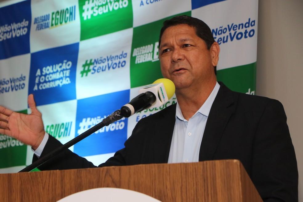 Delegado Federal Eguchi é o candidato do Patriota para a Prefeitura de Belém. — Foto: Elivaldo Pamplona/O Liberal