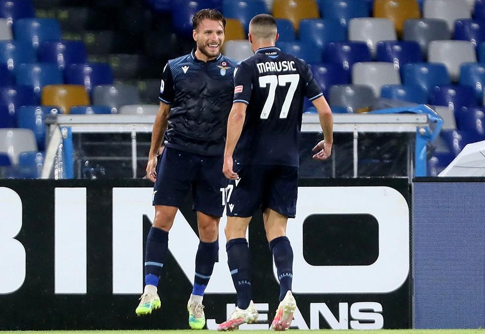 Immobile comemora seu 36º gol no Campeonato Italiano — Foto: MB Media/Getty Images