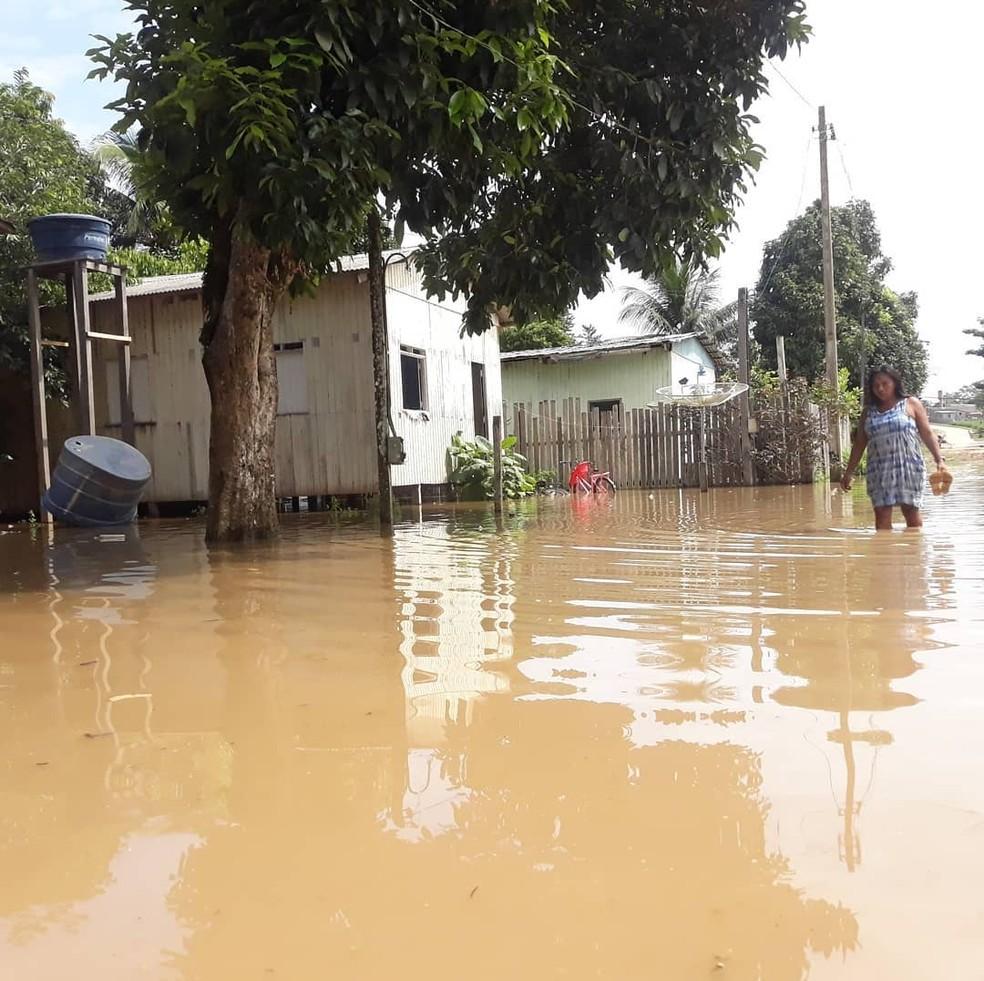 Município de Santa Rosa está alagado com enchente do Rio Purus  — Foto: Sandra de Brito/Arquivo pessoal