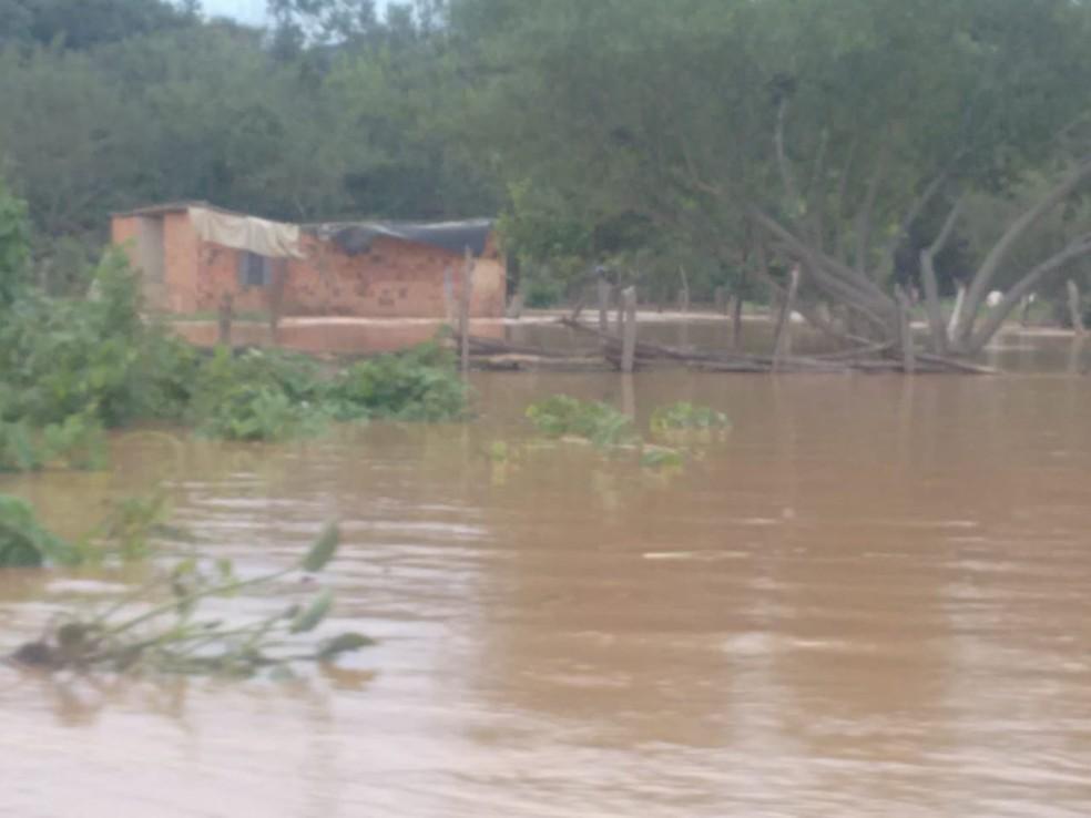 Água invadiu Ilha do Retiro em Itacarambi — Foto: Vailton Ferreira/ Arquivo pessoal