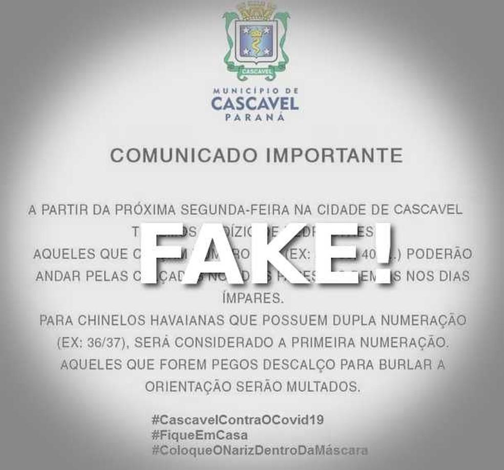 Falso comunicado está circulando pelas redes sociais — Foto: Prefeitura de Cascavel/Arte