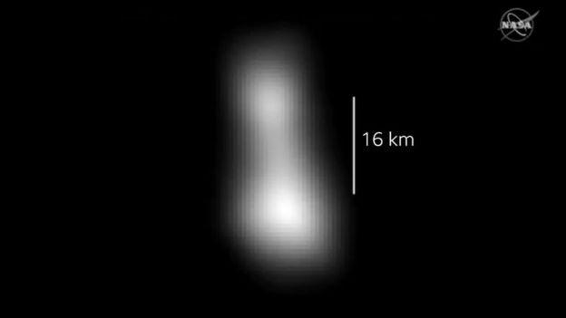 Formato da Ultima Thule, de acordo com os dados enviados pela New Horizons (Foto: NASA)