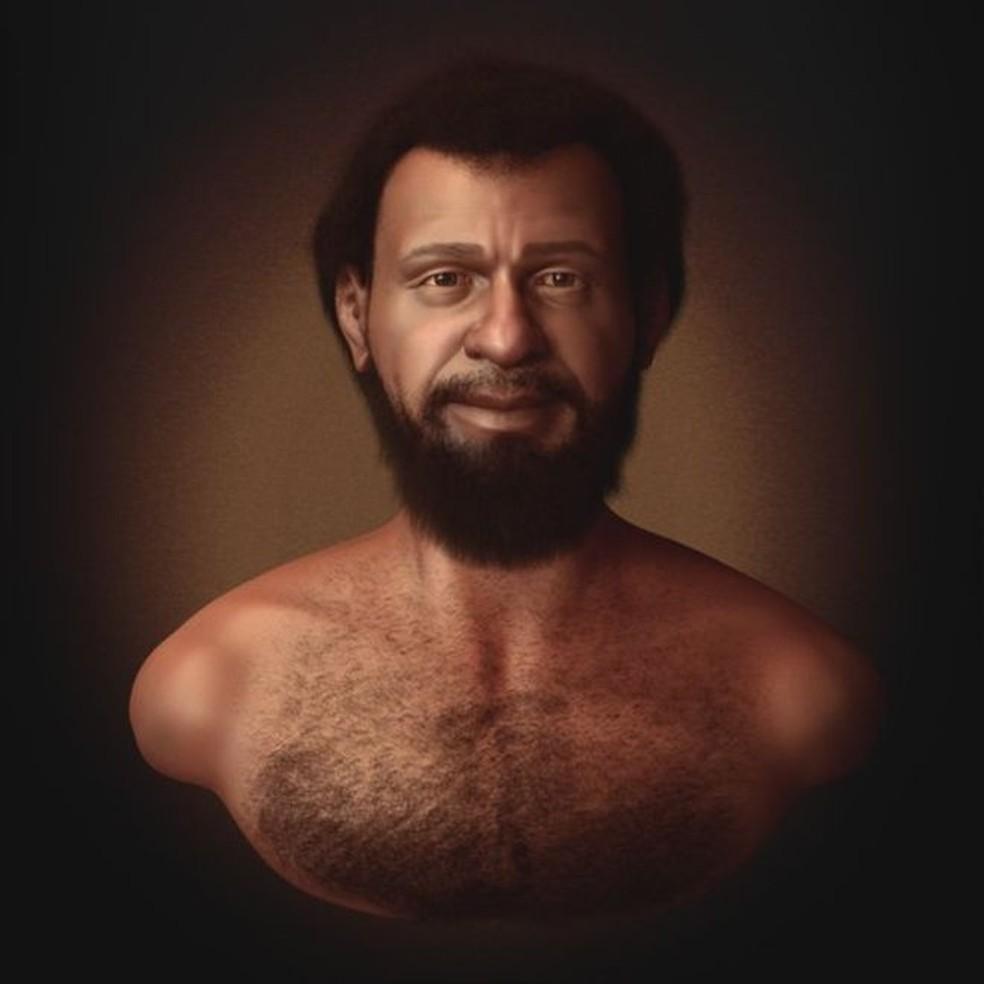 Concepção artística do designer gráfico especialista em reconstituição facial forense Cícero Moraes mosta que judeus que viviam no Oriente Médio no século 1 tinham a pele, o cabelo e os olhos escuros (Foto: Cícero Moraes/BBC Brasil)