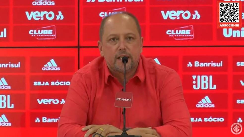 Barcellos diz que trabalho de Ramírez está sob avaliação — Foto: Canal do Inter