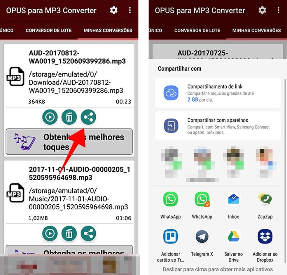 Compartilhe áudios converidos para MP3 por meio de outros apps (Foto: Reprodução/Paulo Alves)