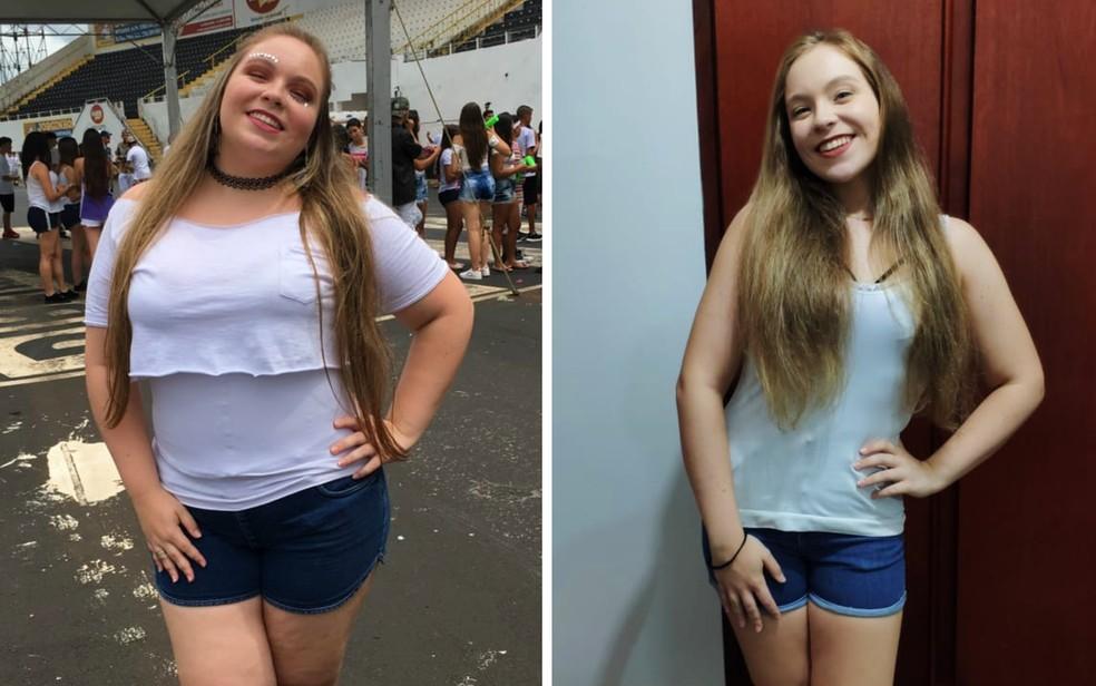Estudante de Ribeirão Preto emagreceu 36 kg e doou a mesma quantidade em alimentos a famílias carentes — Foto: Hannah Martins/Acervo pessoal