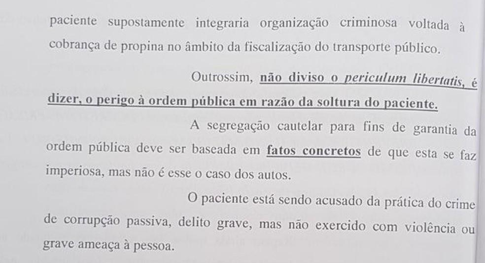Trecho de decisão que solta auditor fiscal (Foto: Reprodução)