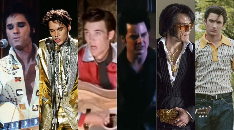 Kurt Russell, Jonathan Rhys Meyers, Tyler Hilton, Jack White, Michael Shannon e Drake Milligan interpretaram Elvis em diferentes produções na TV e no cinema — Foto: Divulgação