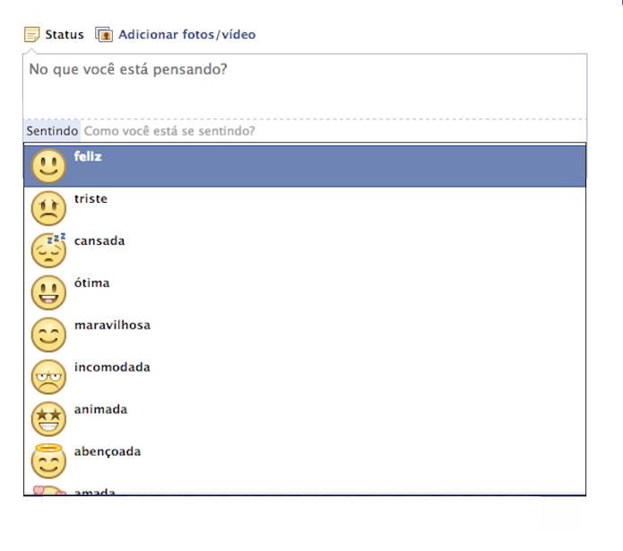 Facebook renova atualizações de status com 'sentimentos' para os usuários (Foto: Reprodção/Facebook)