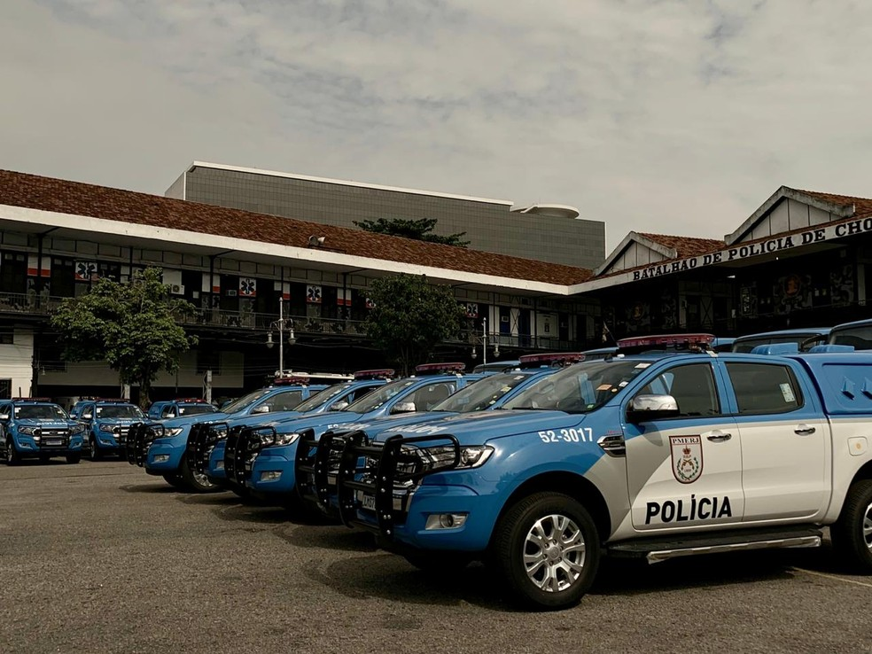 Novas viaturas da Polícia Militar, entregues em cerimônia pelo governador Wilson Witzel — Foto: Fernanda Rouvenat/ G1