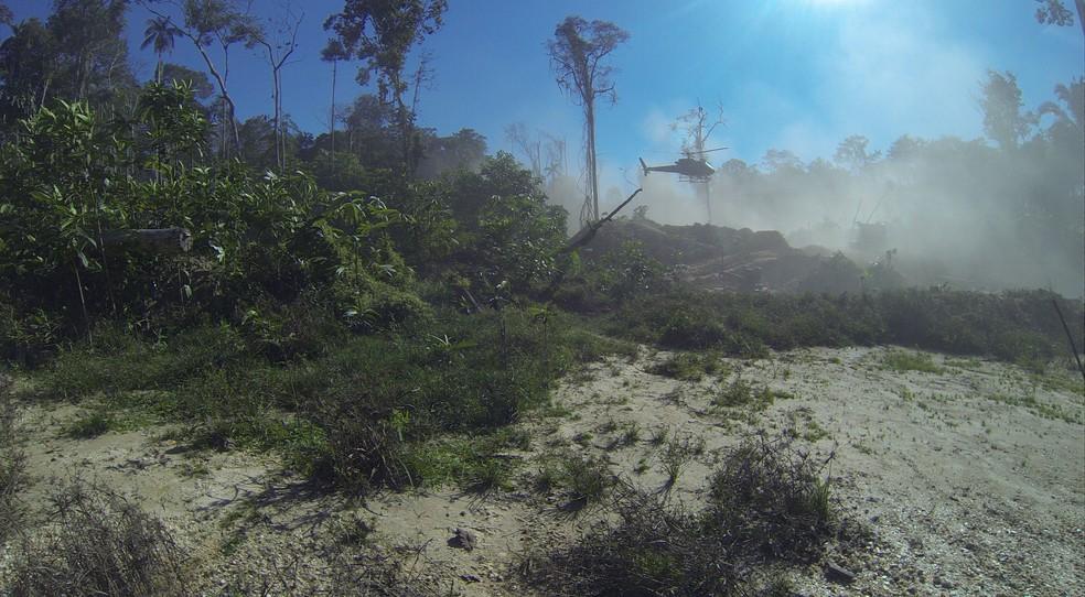 Dois helicópteros foram usados na ação (Foto: DPF/Divulgação)