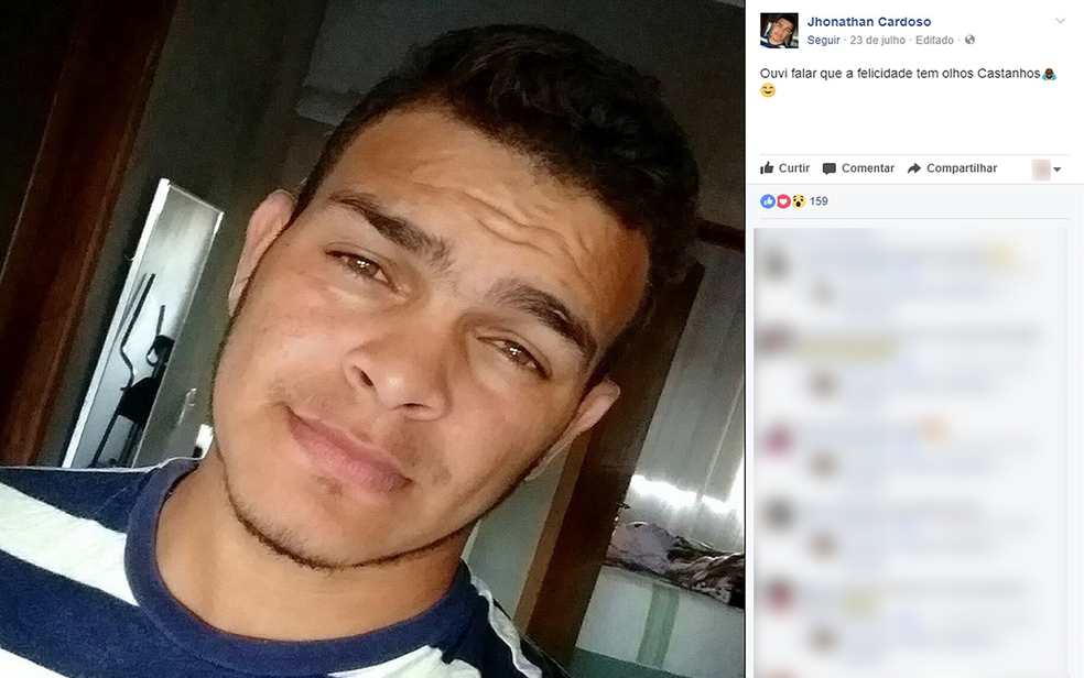 Jhonathan de Oliveira Ferreira, de 23 anos, foi encontrado morto embaixo de veículo (Foto: Reprodução/ Facebook)