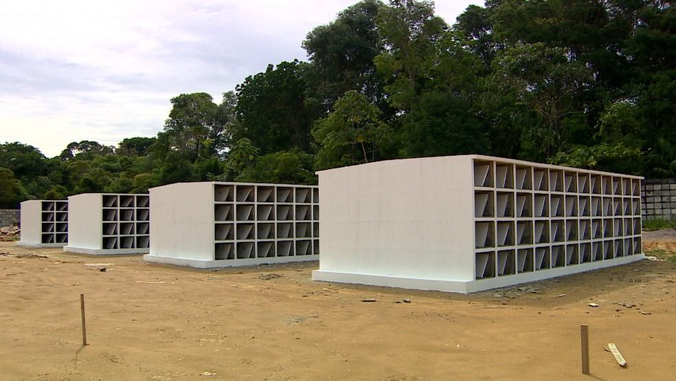 Gavetas serão usadas para receber mortos por Covid-19 em cemitério de Manaus — Foto: Reprodução