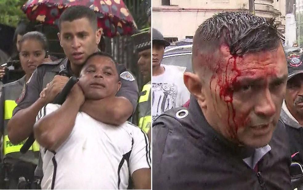 Imagens mostram um vendedor ambulante levando 'gravata' de PM e homem com a cabeça ensaguentada após ação policial no Centro de SP (Foto: Reprodução/TV Globo)