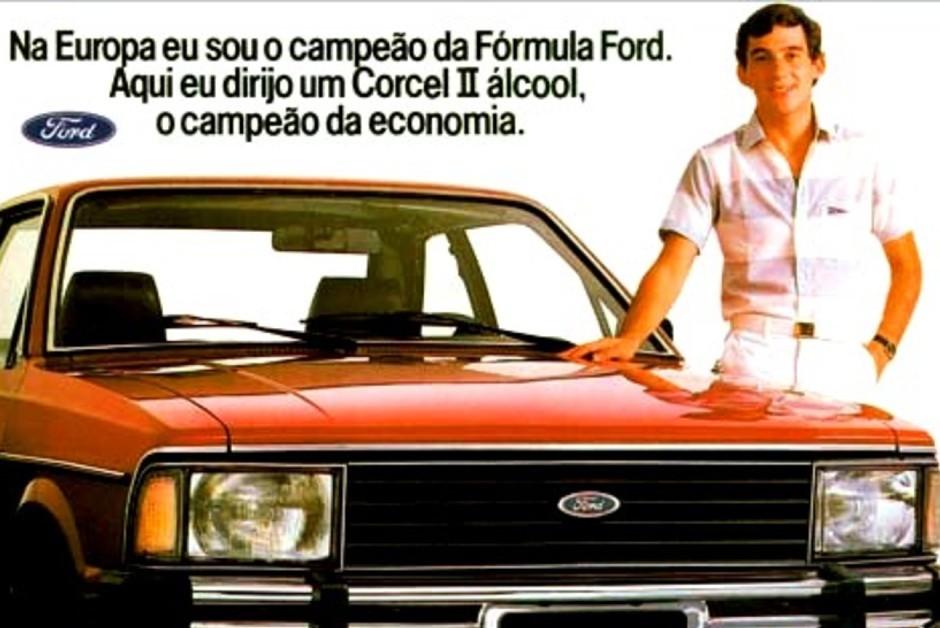 Ayrton Senna em propaganda do Ford Corcel II, no ano de 1983 (Foto: Reprodução)