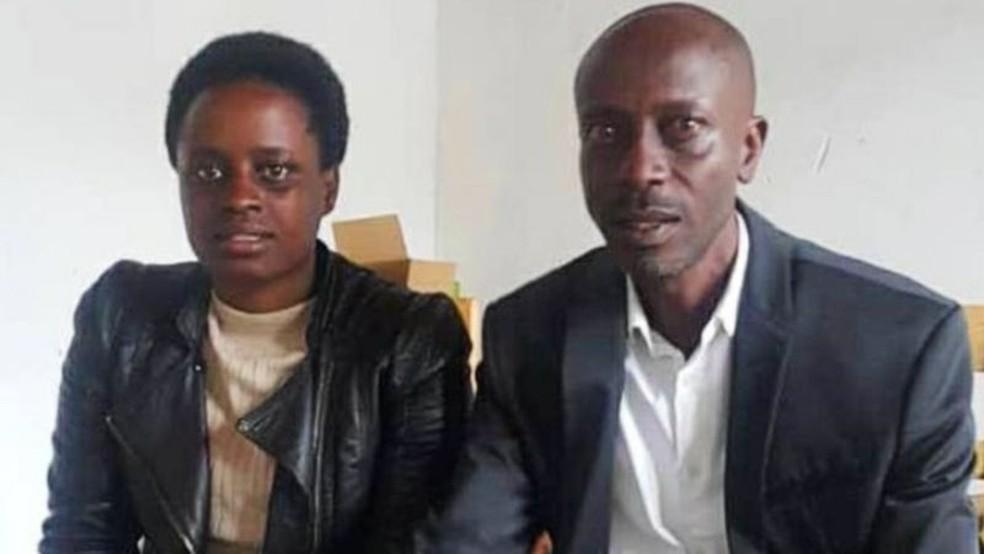 Grace Umutoni e Antoine Rugagi viajaram para Kigali para buscar os resultados dos testes de DNA — Foto: Arquivo pessoal/BBC