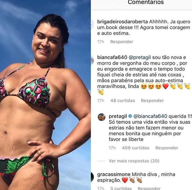 Preta Gil respondendo comentário de fã no Instagram (Foto: Reprodução/Instagram)
