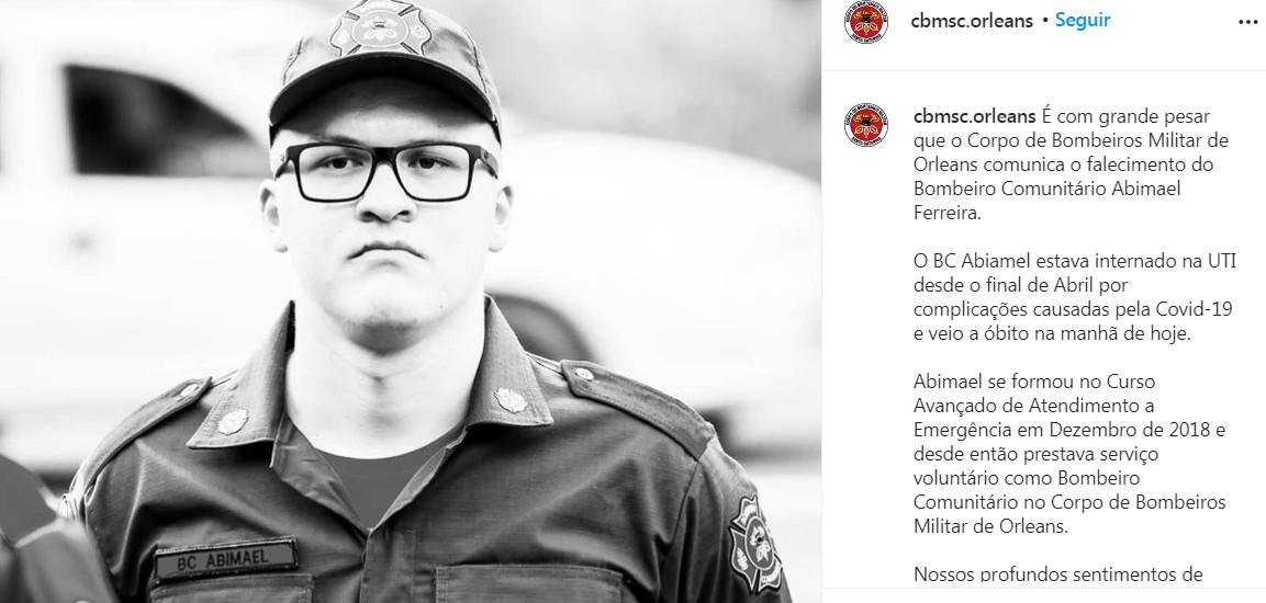 Bombeiro de 22 anos morre após complicações da Covid-19 em SC