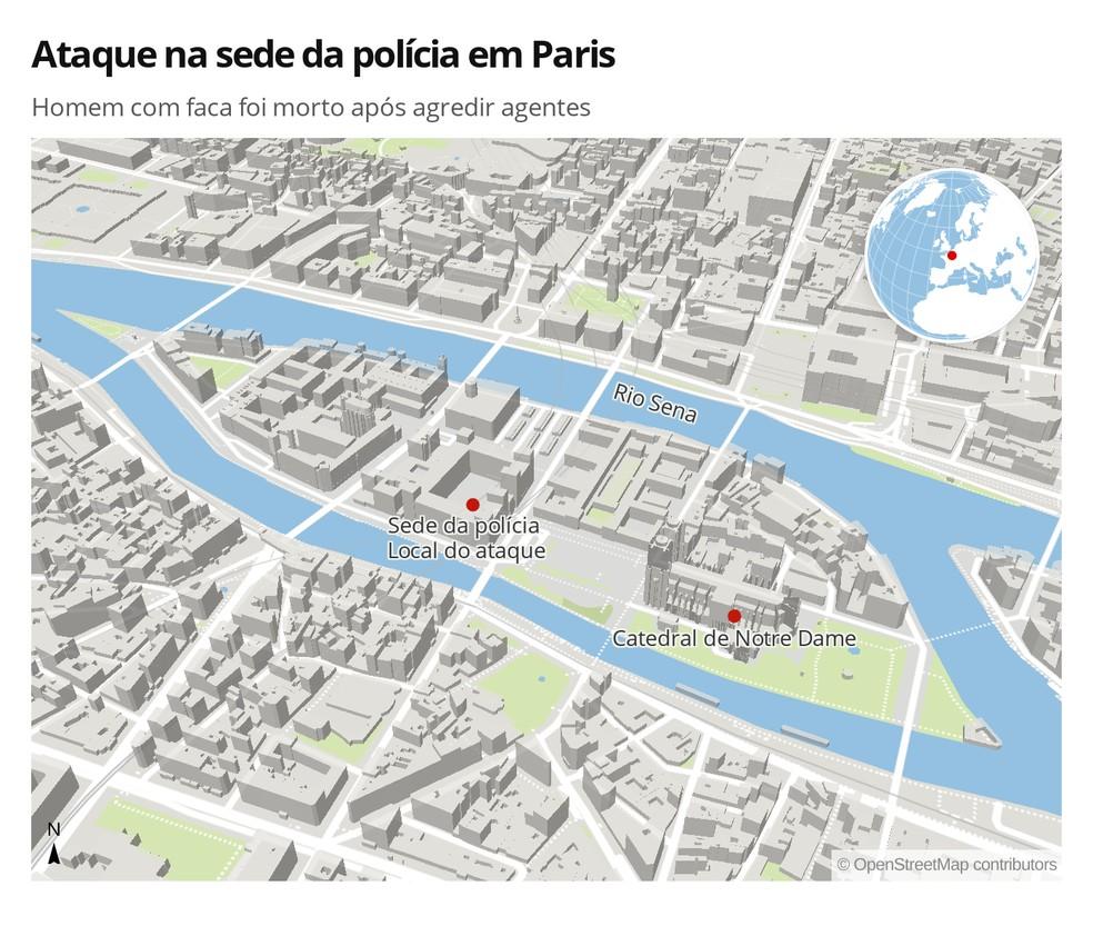Ataque na sede da polícia em Paris deixou mortos — Foto: Lara Pinheiro/G1