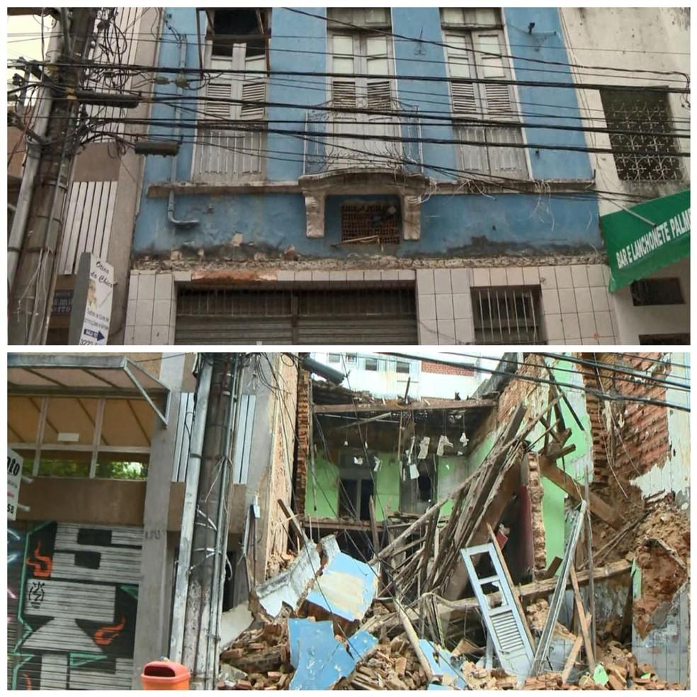 Antes e depois de imóvel que desabou no Centro de Vitória — Foto: Reprodução/TV Gazeta