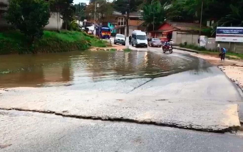 Alagamento em Trancoso, no extremo sul da Bahia (Foto: Taísa Moura/TV Santa Cruz)