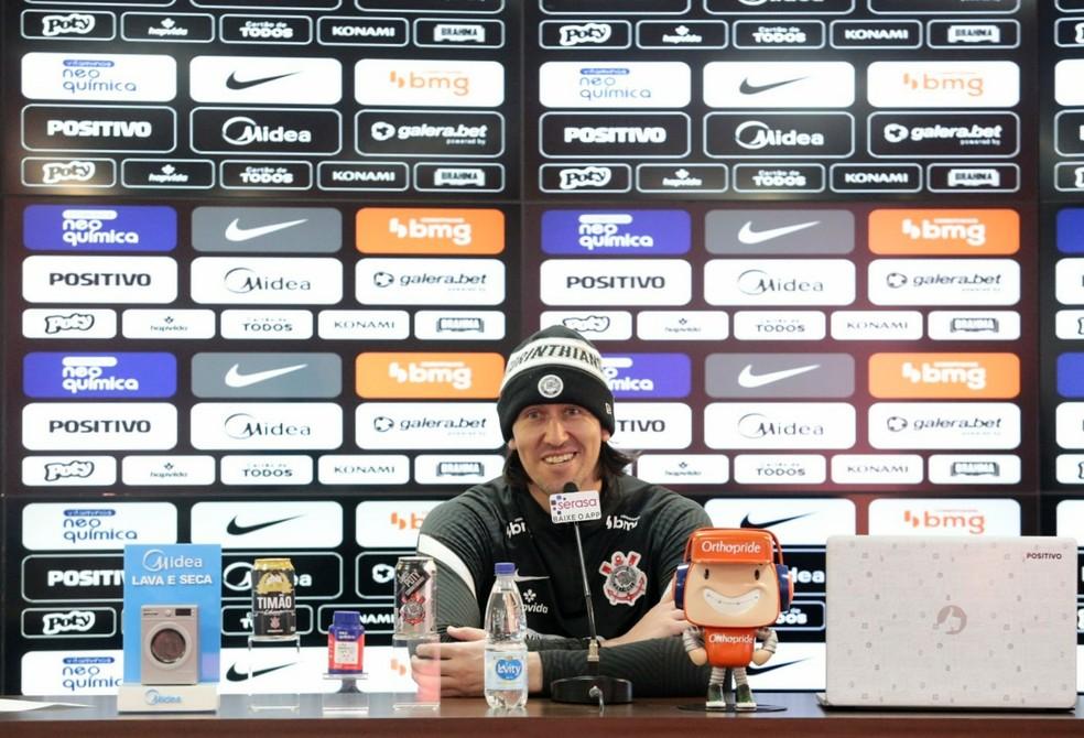 Cássio em entrevista coletiva — Foto: Rodrigo Coca/Ag. Corinthians