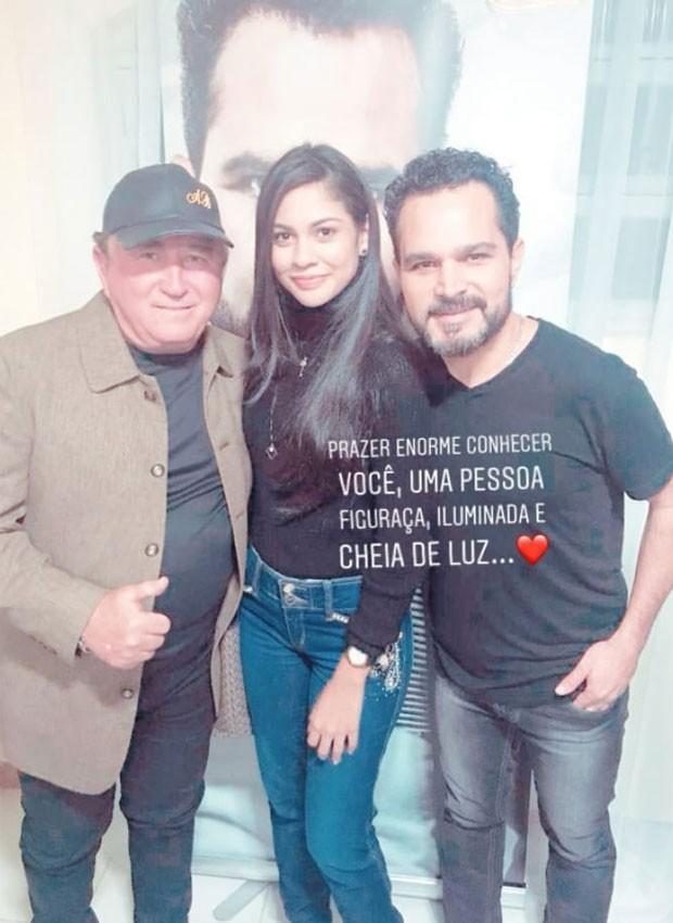 Amado leva Layza para conhecer o cantor Luciano em camarim de show em SP (Foto: Reprodução/Instagram)