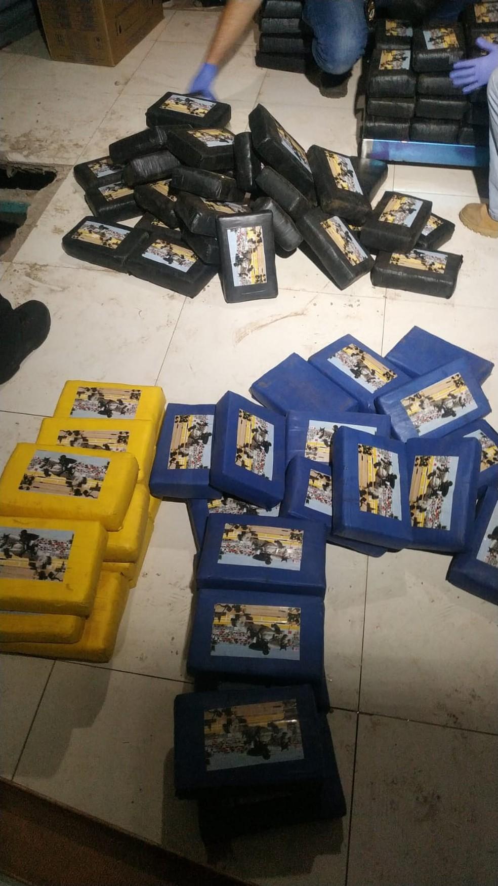 Tabletes de cocaína apreendidos em Campo Grande — Foto: Itamar Silva/TV Morena