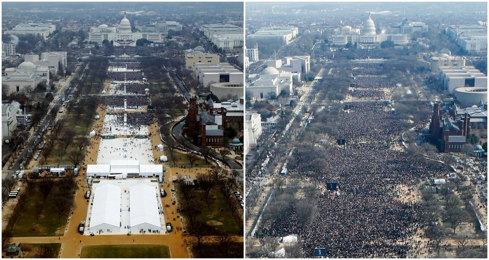 Fotos da posse de Donald Trump em 2017 (à esquerda) e de Barack Obama, em 2009 (Foto: Lucas Jackson (L), Stelios Varias/Reuters)