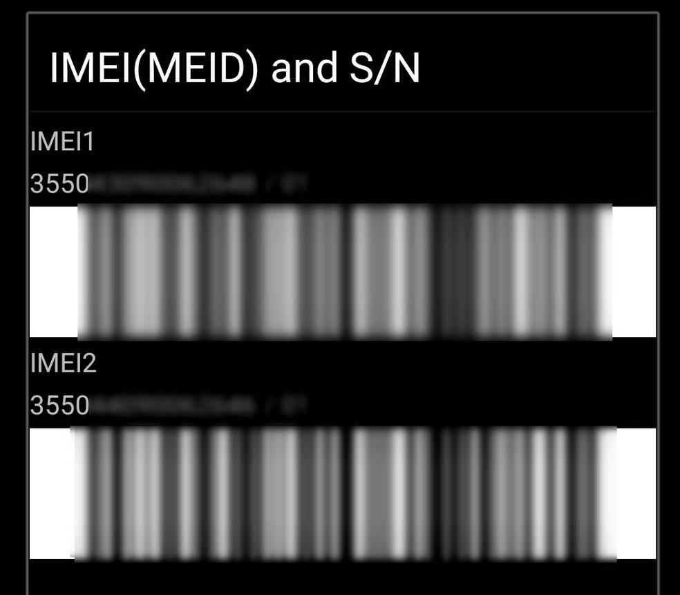 Aparelho com dois chips exibe dois códigos de Imei, após inserção do código *#06# (Foto: Mateus Rodrigues/G1)