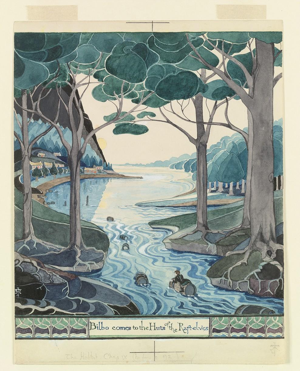 Bilbo chega às cabanas dos elfos-jangadeiros, julho de 1937 (Foto: © The Tolkien Estate Limited 1937)